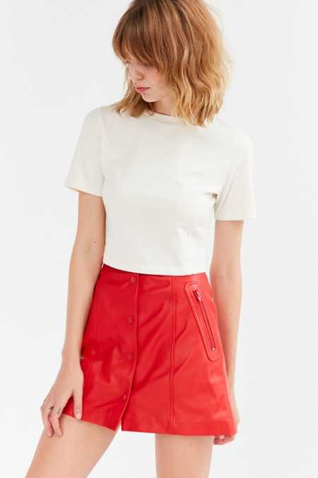 Cooperative Leather Button-Down A-Line Mini Skirt