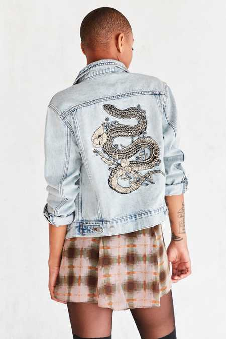 BDG Embroidered Denim Trucker Jacket