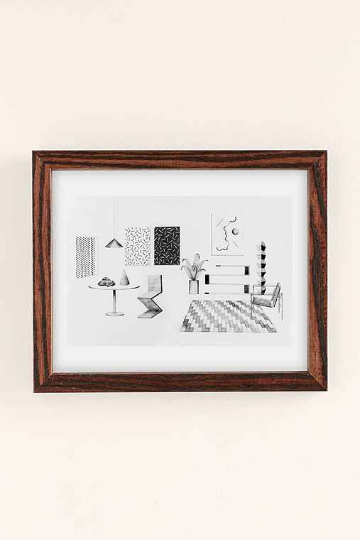 Clay Hickson Interior #1 Art Print,WALNUT WOOD FRAME,18X24