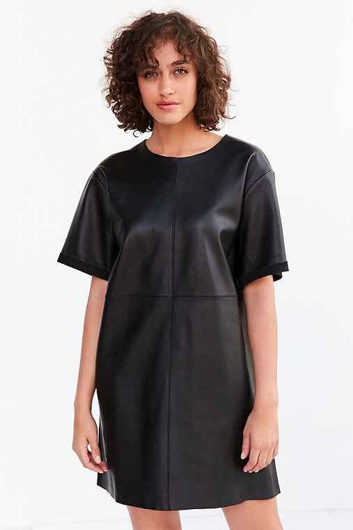 Silence + Noise Leather Boxy Mini T-Shirt Dress,BLACK,XS