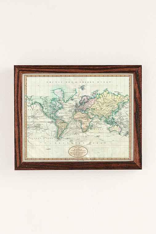 Adam Shaw Vintage World Map (1801) Art Print,WALNUT WOOD FRAME,30X40