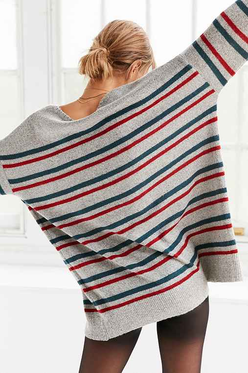 BDG Stripe Oversized Pullover Sweater,GREY MULTI,M/L