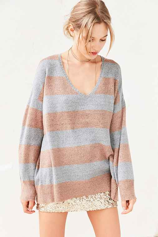 BDG Stripe Oversized Pullover Sweater,NEUTRAL MULTI,M/L