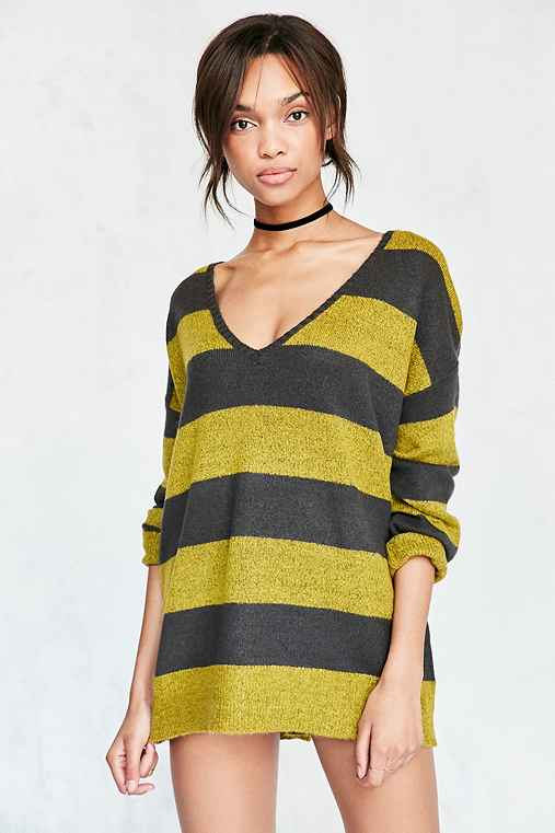 BDG Stripe Oversized Pullover Sweater,GREEN MULTI,XS/S