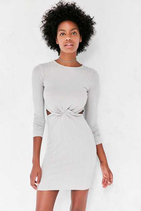 Silence + Noise Knot-Front Long-Sleeve Mini Dress