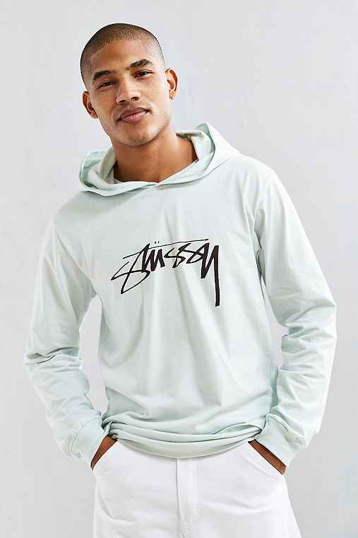 Stussy Smooth Stock Hooded Long Sleeve Tee,BLUE,XL