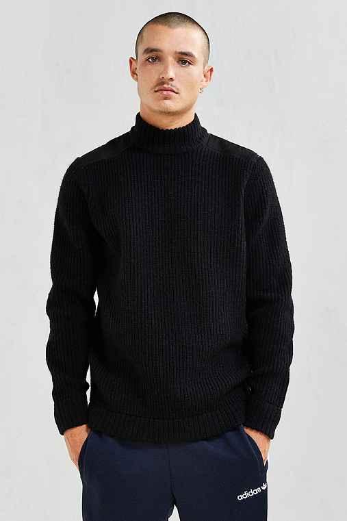 Stussy Mock Neck Military Sweater,BLACK,L