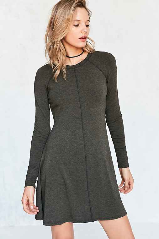 BDG Outfield Long-Sleeve Sweatshirt Mini Dress,DARK GREEN,M