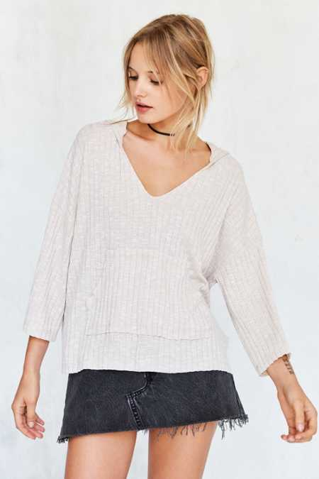 BDG Anna Ribbed Knit Hoodie Sweater