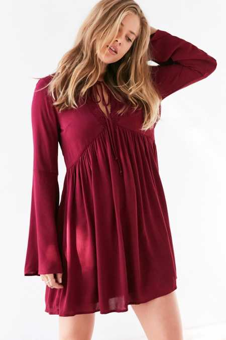 Ecote Crochet-Trim Bell-Sleeve Mini Dress