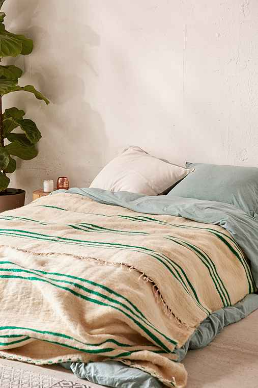 Vintage Moroccan Green Striped Wool Bed Blanket,CREAM,ONE SIZE