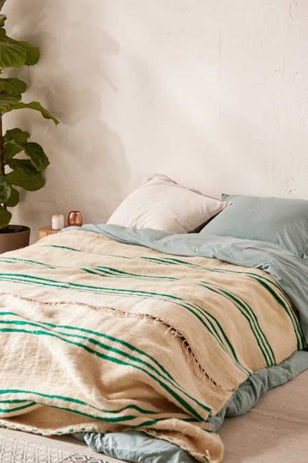 Vintage Moroccan Green Striped Wool Bed Blanket