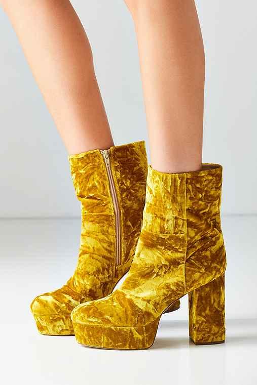 Michelle Velvet Platform Boot,CHARTREUSE,6