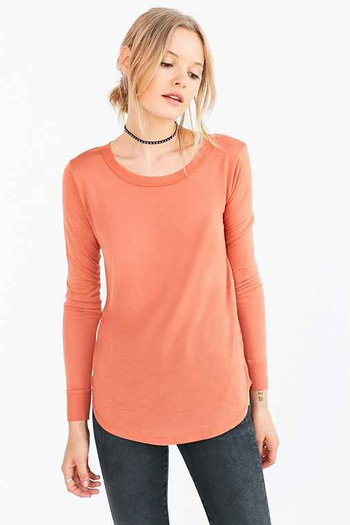 Silence + Noise Astrid Long-Sleeve Shirttail Tee,BROWN,XS