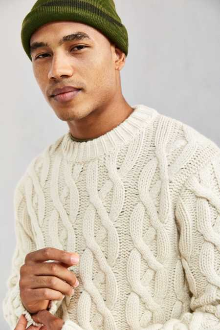 Schott Cable Knit Fisherman Crew Neck Sweater