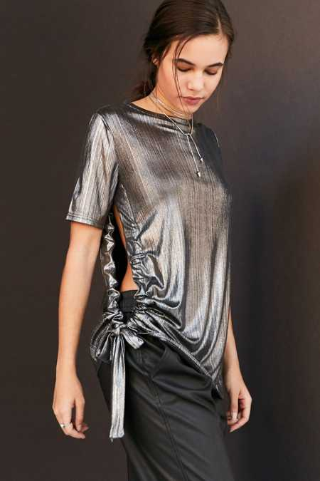 Cheap Monday Metallic Side-Tie Tee