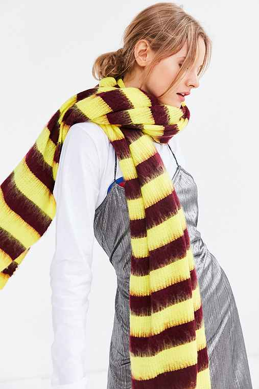 Oversized Striped Ribbed Scarf,YELLOW,ONE SIZE
