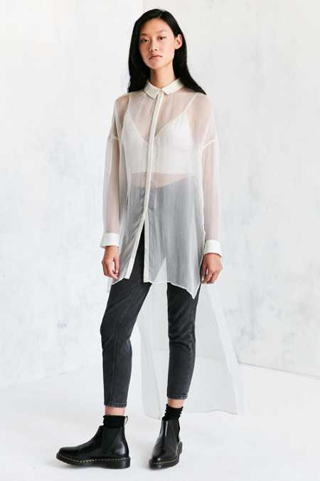 Silence + Noise Monique Mesh High/Low Maxi Shirt
