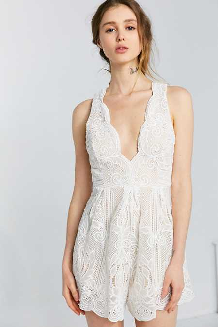 Love Triangle Arabesque Plunging Lace Romper