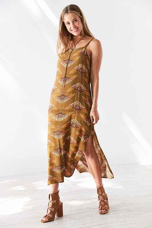 Ecote Aviator Print Midi Slip Dress,BROWN,L