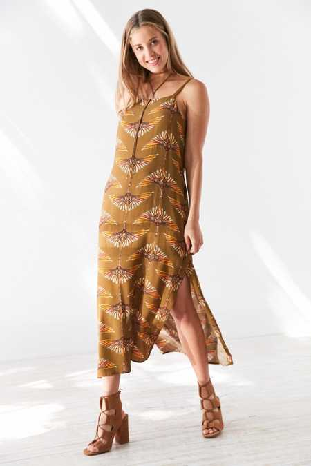 Ecote Aviator Print Midi Slip Dress