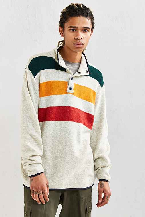 Woolrich Half-Snap Blanket Stripe Henley Sweater,CREAM,L