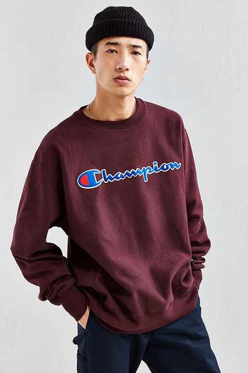 Champion Reverse Weave Script Crew Neck Sweatshirt,MAROON,M