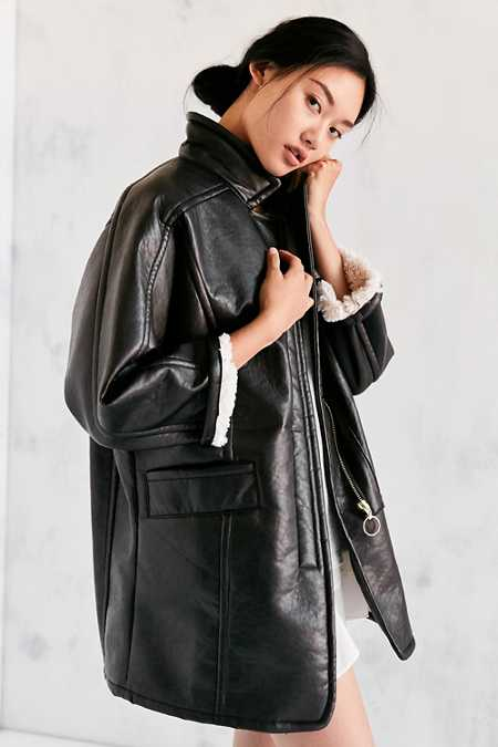 Silence + Noise Eddie Oversized Vegan Leather Sherpa Coat