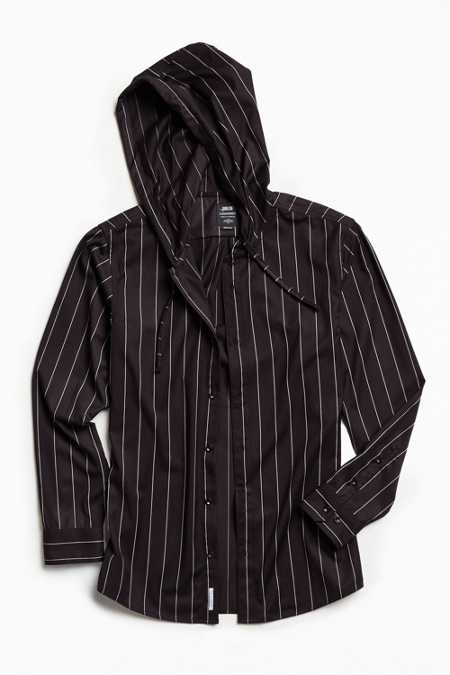 Publish Avery Pinstripe Hooded Button-Down Shirt