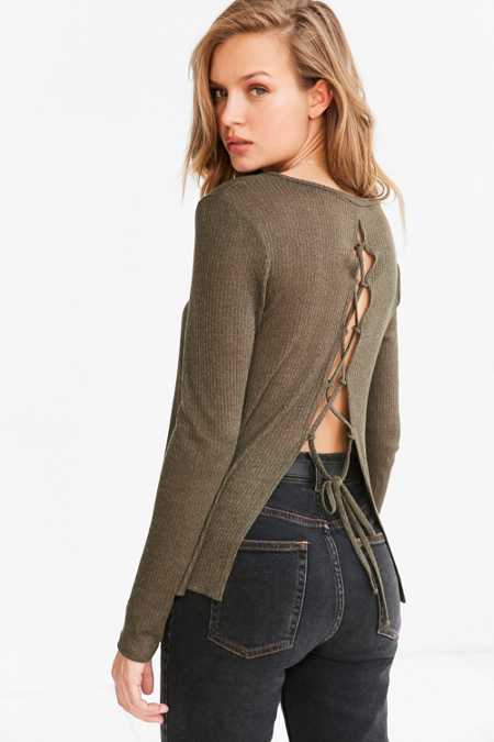 Kimchi Blue Piper Lace-Up Back Pullover Sweater