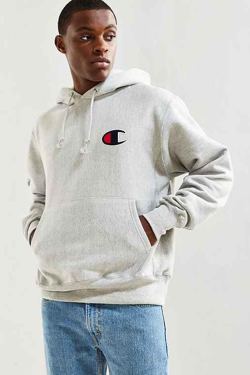Champion Reverse Weave Large C Hoodie Sweatshirt,GREY,L