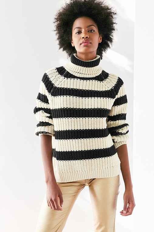 BDG Aria Striped Turtleneck Sweater,BLACK & WHITE,XS
