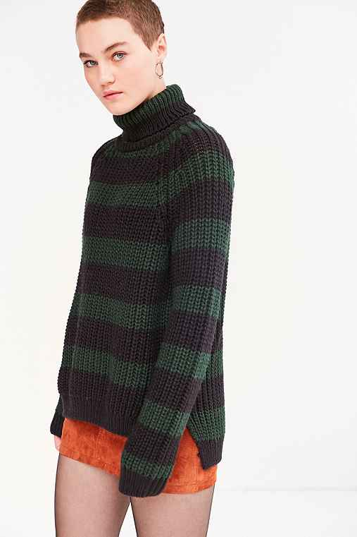 BDG Aria Striped Turtleneck Sweater,GREEN MULTI,L