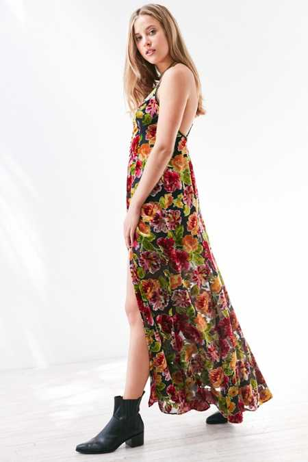 Ecote Lilyhandra Floral Velvet Burnout Maxi Dress