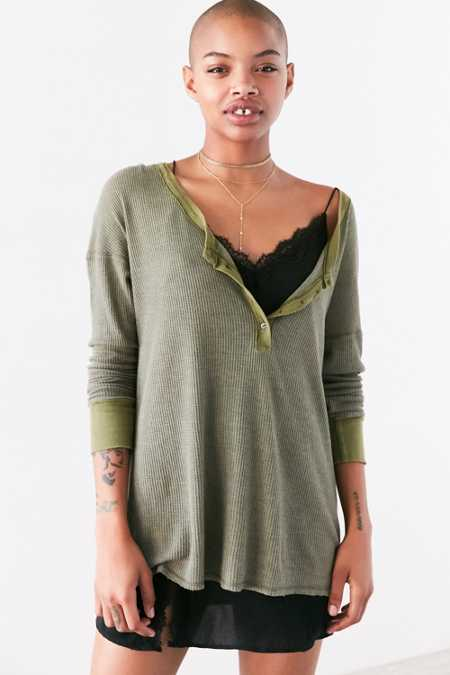 Project Social T Seaside Thermal Henley Top