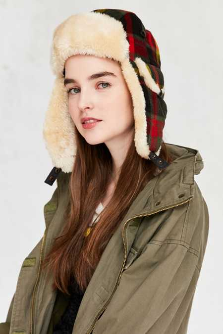Woolrich Plaid Wool Trapper Hat