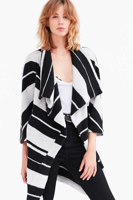 BB Dakota Kendall Striped Wrap Coat