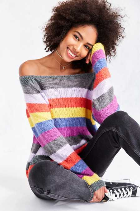 Cooperative Rainbow Stripe Off-The-Shoulder Sweater
