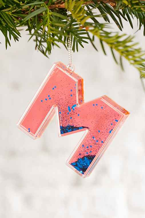Monogram Glitter Ornament,M,ONE SIZE