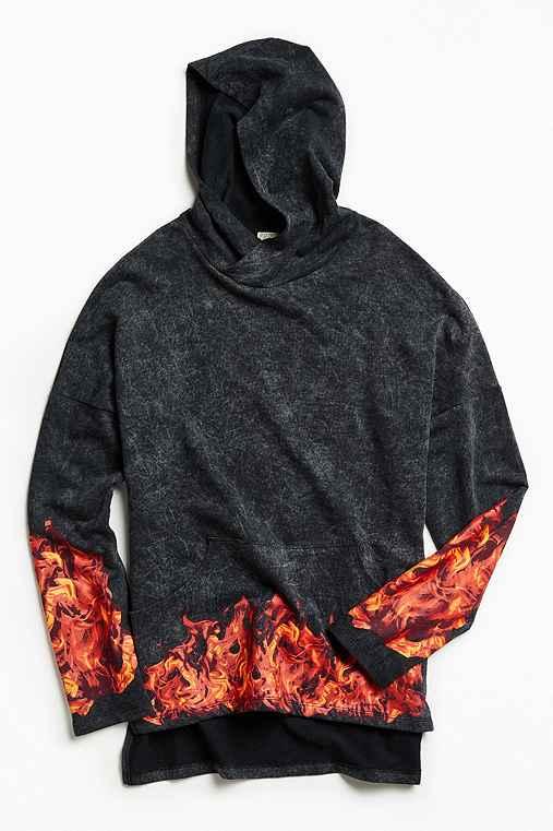 Flamez Hoodie Sweatshirt,BLACK,M