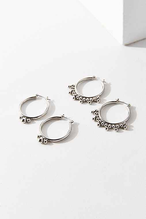 Statement Hoop Earring Set,SILVER,ONE SIZE