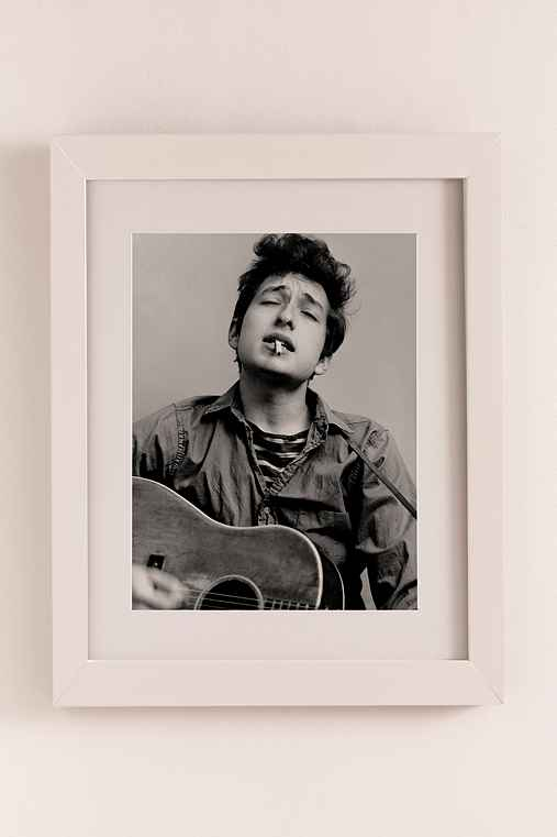 Bob Dylan Portrait With Acoustic Guitar & Cigarette By Michael Ochs/Getty Images Art Print,MATTE WHITE FRAME,36X44