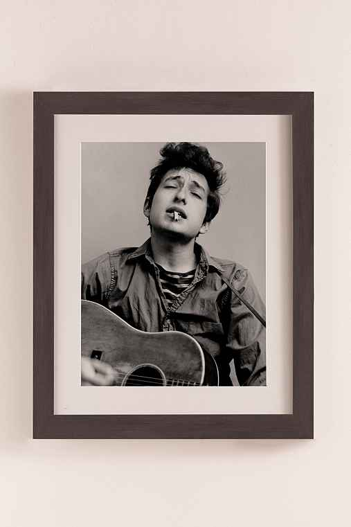 Bob Dylan Portrait With Acoustic Guitar & Cigarette By Michael Ochs/Getty Images Art Print,NATURAL EXPRESSO WOOD GRAIN FRAME,22X26