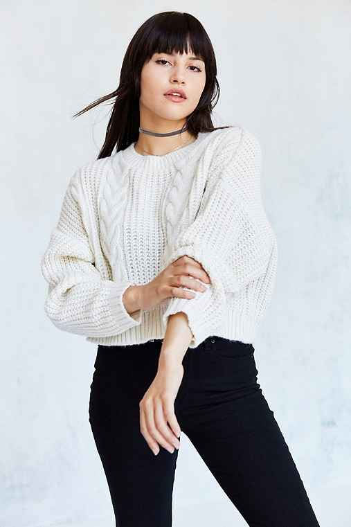 BDG Cable Cropped Pullover Sweater,IVORY,M
