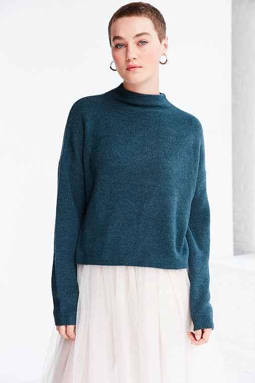 Silence + Noise Johnny Mock Neck Sweater,OLIVE,XS