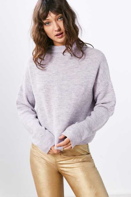 Silence + Noise Johnny Mock Neck Sweater