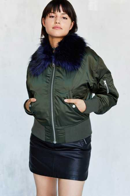 Silence + Noise Fun Faux Fur Pilot Bomber Jacket