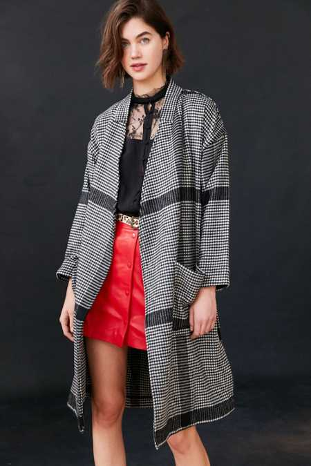 Silence + Noise Mia Houndstooth Wrap Coat