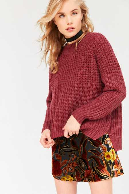 BDG Mixed Waffle Stitch Crew Neck Sweater