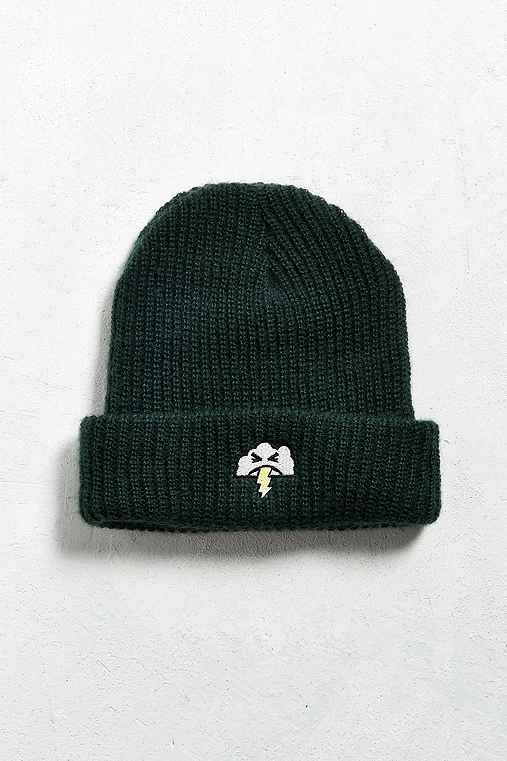 Embroidered Cloud Beanie,GREEN,ONE SIZE